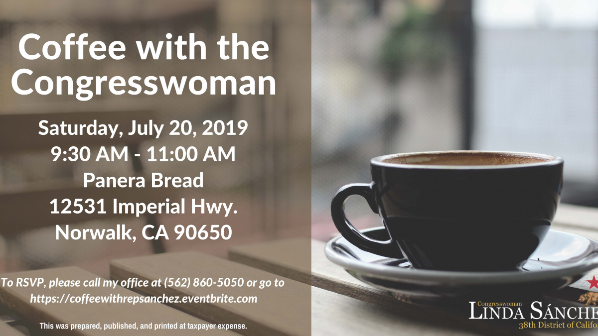 Join Congresswoman Sanchez for coffee in Norwalk